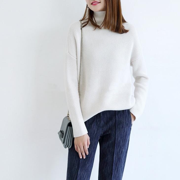 Pullover Wolle Damen 4 Rollkragen lose Pullover Damen Farbe Kleidung 100Kaschmir stricken und blaurosadunkelrotwei Frau Top Fahrer Stil 0PXnwk8O
