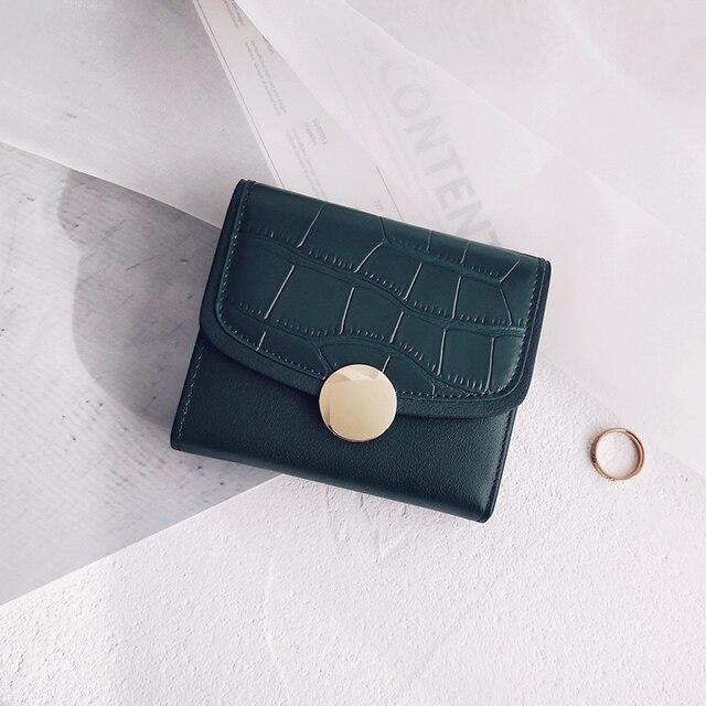 Lydian Cowhide Crocodile Pattern Round Button Wallet Women Bag Purse New Short Mini Buckle 3fold Change Wallet Carteira Femenina