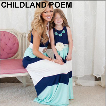 2016 summer Mother Daughter Dress stripe matching mother daughter clothes Family look Mom And Daughter dress