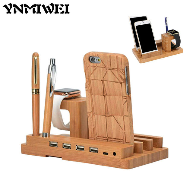 Ynmiwei Wood USB Charging Station Charger Dock Stand Holder For Apple Watch iPhone 6 7 Tablet Phone Socket Mount Multi-Function