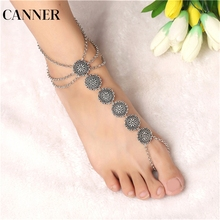 CANNER Boho Summer Vintage Ankle Bracelet Round Carving Flower Coins Anklet Barefoot Sandals Foot Jewelry Anklets For Women R4