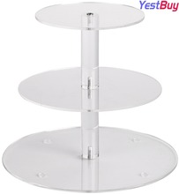 YestBuy 3 Tier Maypole Round  Wedding Party Tree Tower Acrylic Cupcake Display Stand (3 (10cm gap) )(8.7 Inches)
