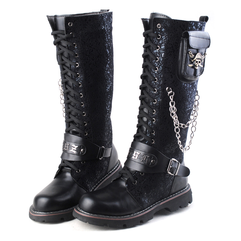 Здесь продается  British hip hop cowboy riding boots Men Military Leather Martin Motorcycle Rock Punk chain Boots Zapatillas Deprtivas Hombre  Обувь