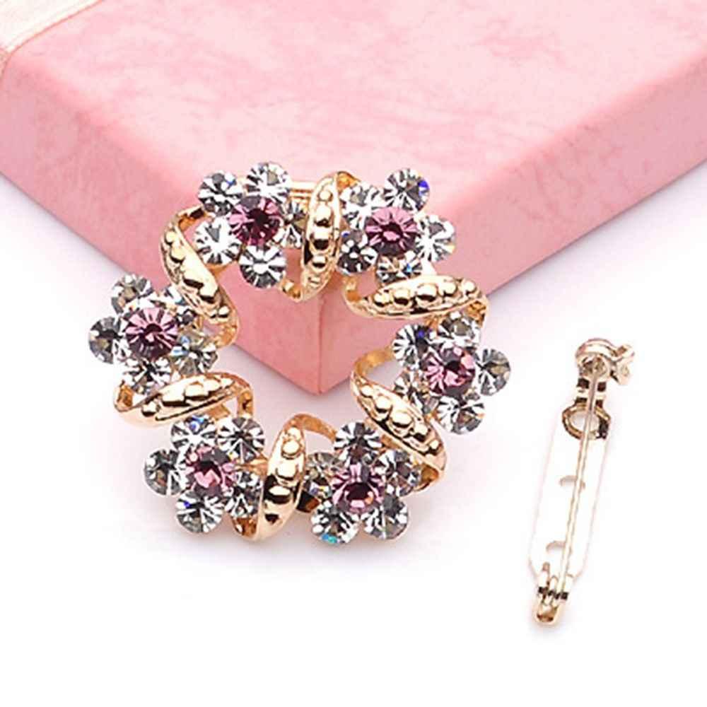 Pabrik Penjualan Langsung Wanita Kristal Berlian Imitasi Garland Bros Bunga Bros Pin untuk Wanita Dalam Berbagai Warna