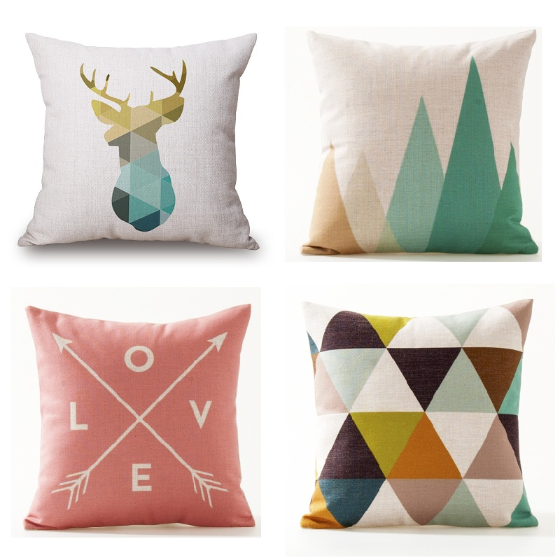 Nordic Deer Cushion Cover Geometric Animal Pillow Covers