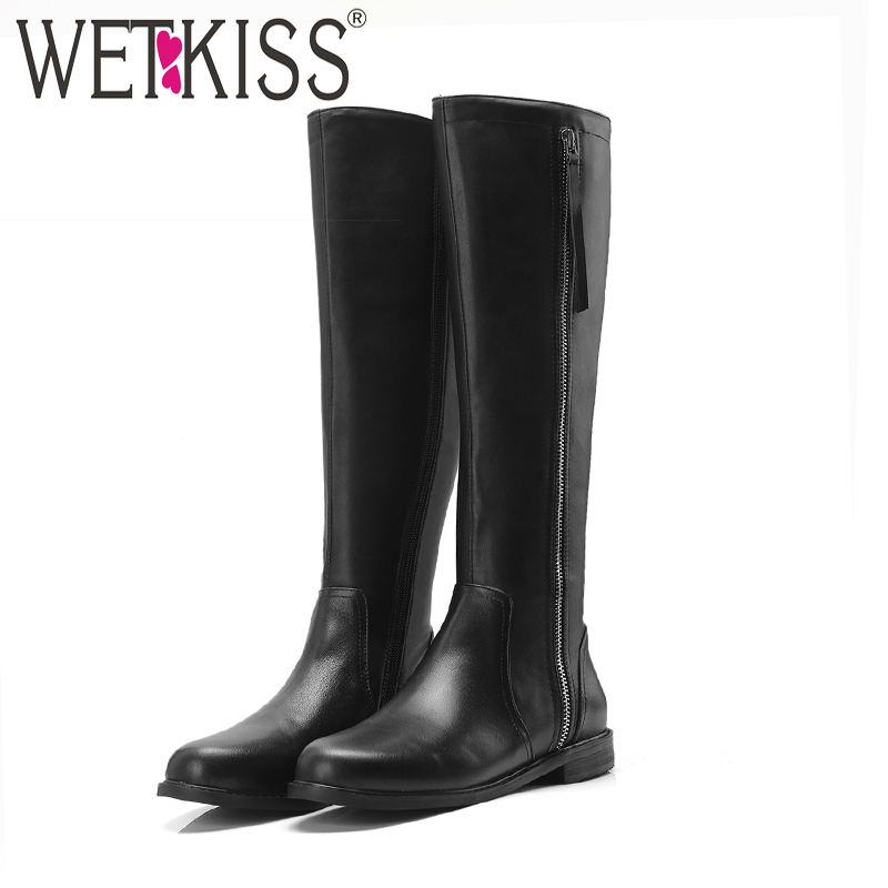 WETKISS Knee High Women Boots Round Toe Zip Footwear Thick Low Heels Female Riding Boot Cow Leather Shoes Woman Winter 2018 New wetkiss denim high heels women boots zip round toe footwear fashion stretch female boot ripped knee high shoes women 2018 winter