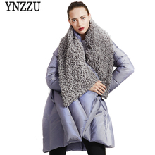 YNZZU Original Design 2018 Winter Womens Down Jacket Chic Cloak Duck Coat Woman Lamb Fur Collar Warm Female O734