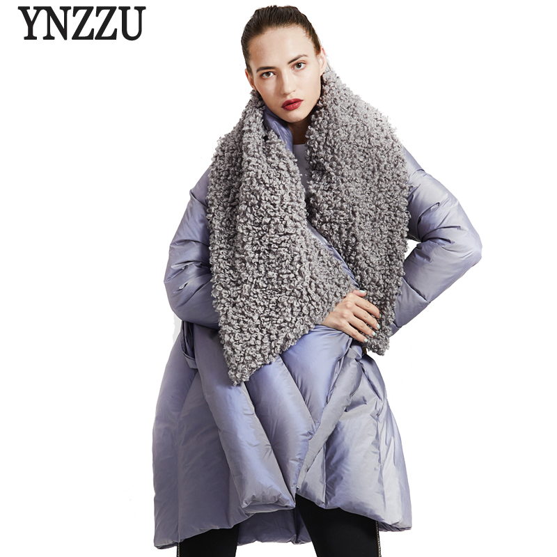YNZZU Original Design 2018 Winter Women's   Down   Jacket Chic Cloak Duck   Down     Coat   Woman Lamb Fur Collar Warm Female Jacket O734