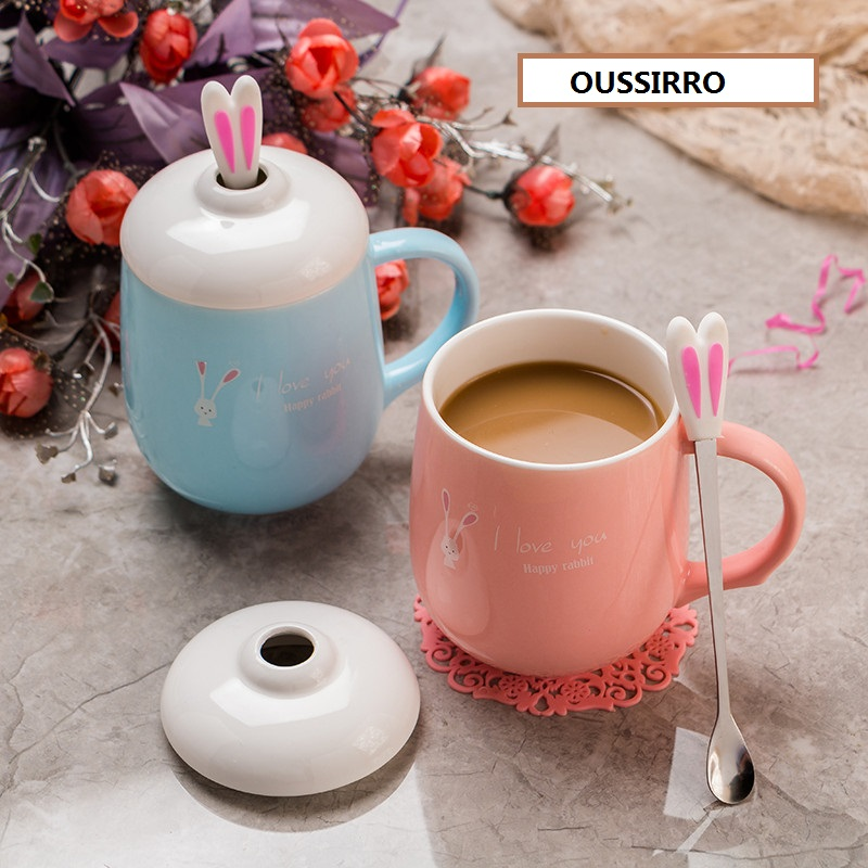 OUSSIRRO Creativity lovely Rabbit ears Ceramics Mug With Lid Large Capacity 400ml Mugs Coffee Milk Tea Cups Novelty Gifts