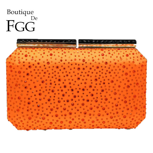 Boutique De FGG Orange Crystal Women Evening Clutch Bag Metal Frame Acrylic Clasp Wedding Party Banquet Chain Shoulder Handbag