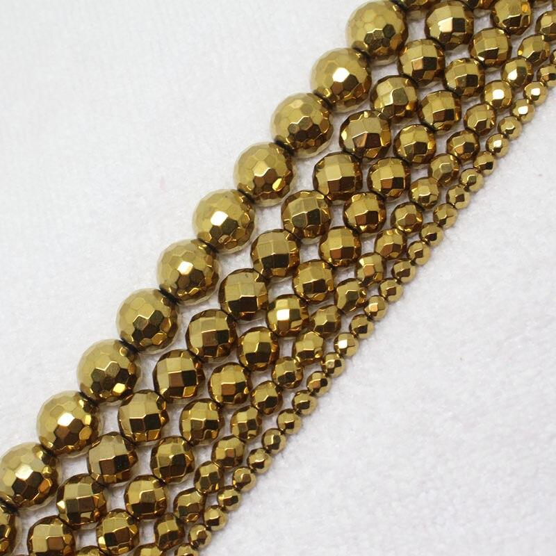 1f4a670214ad ᗔMini. order es  7! 4-12mm facetas oro hematite ronda joyería ...