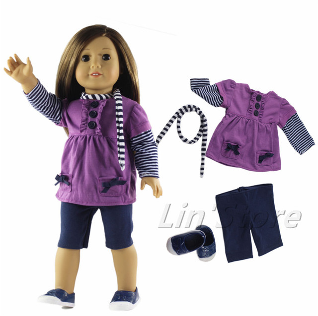 Doll Clothes Outfit Top Pants Scarf One Pairs Shoes For 18 American Girl Doll In Dolls Accessories From Toys Hobbies On Aliexpress Com Alibaba