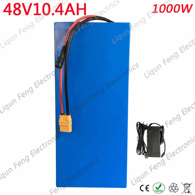 Free Customs Tax Electric Bike Battery 48V 10AH 750W 1000W 48 V Ebike E-Scooter Lithium ion Battery 10AH with 30A BMS 2A Charger
