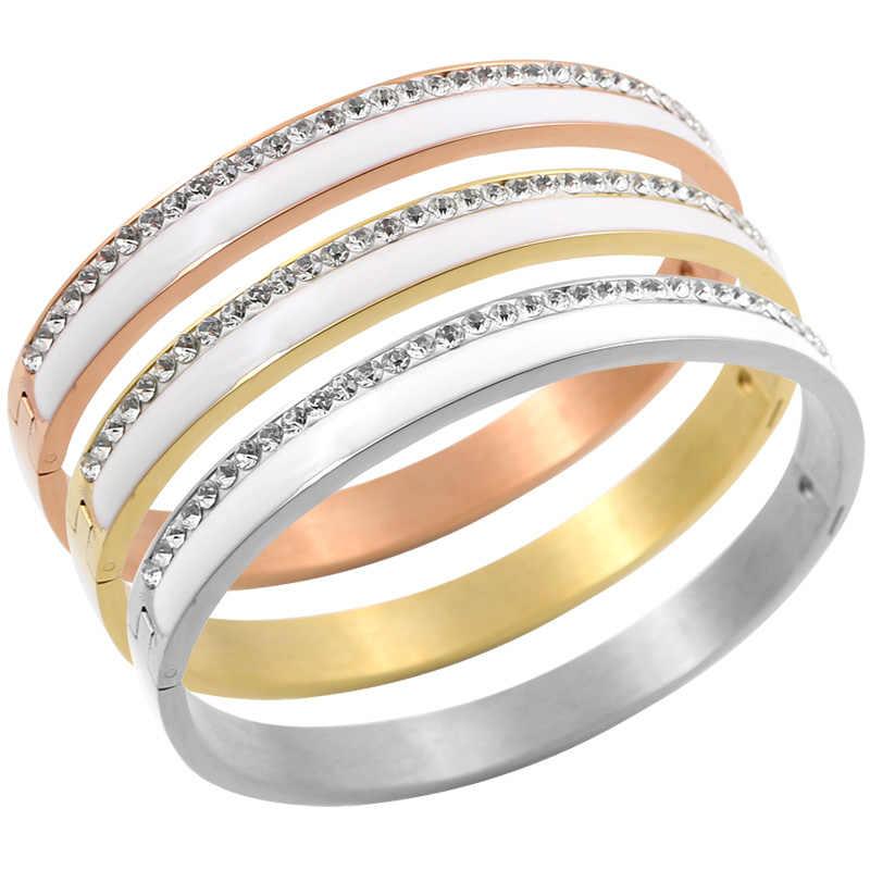 Schönheit Edelstahl Keramik Harz Frauen Armbänder Luxus Damen Kristall Charme Manschette Armreifen Hochzeit Schmuck Geschenk
