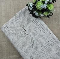 Free Shipping Zakka Linen Fabric For Patchwork Vintage Alphabetical Newspapers Textile Fabric For Sewing Crafts Material