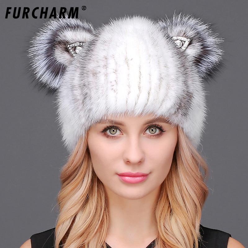 Cute Mink Fur Hat for Women High Quality Genuine Mink Hat with Fox Fur Cat Ears Winter Warm Headgear for Women 100% Real Fur Cap glaedwine 2017 brand very cute fox ears cat ear new women winter hat 100