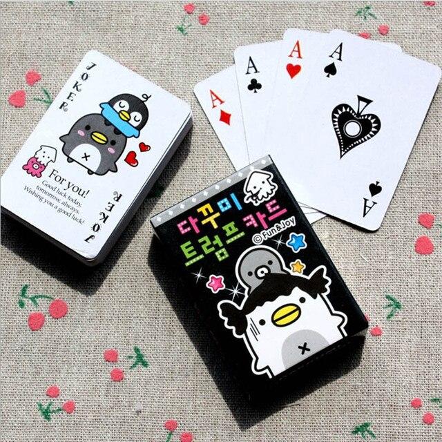 1 De Dibujos Animados Caja De Mini Pinguino Poker Juego De Cartas