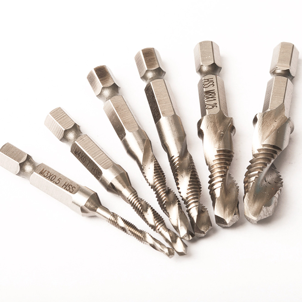 6pcs/set Hand Tap Drill Hex Shank HSS Screw Spiral Point Thread Metric Plug Drill Bits M3 M4 M5 M6 M8 M10 Hand Tools 5pcs hand screw tap screw thread m3 m4 m5 m6 m8 thread tool metric plug tap set drill set tap die