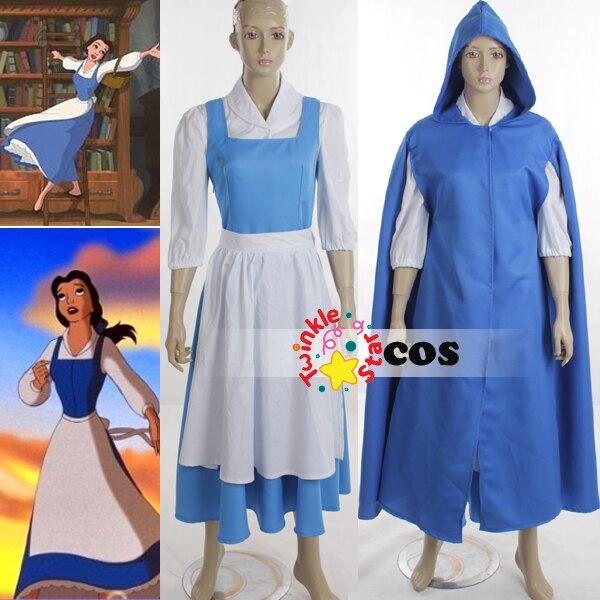 halloween costumes for women adult princess village belle beauty and the beast cosplay costumesshirt - Blue Halloween Dress