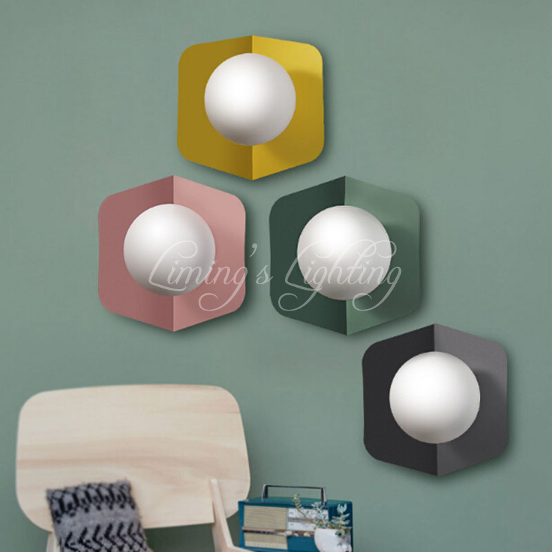 Colorful Nordic Modern Wall Light Glass Wall Lamp For Living Room Bedroom Sconce Bedside Cafe Indoor Home Lighting Fixtures modern wall lamp glass ball led wall sconces bedside wall light fixture bedroom luminaria home lighting vintage lamp
