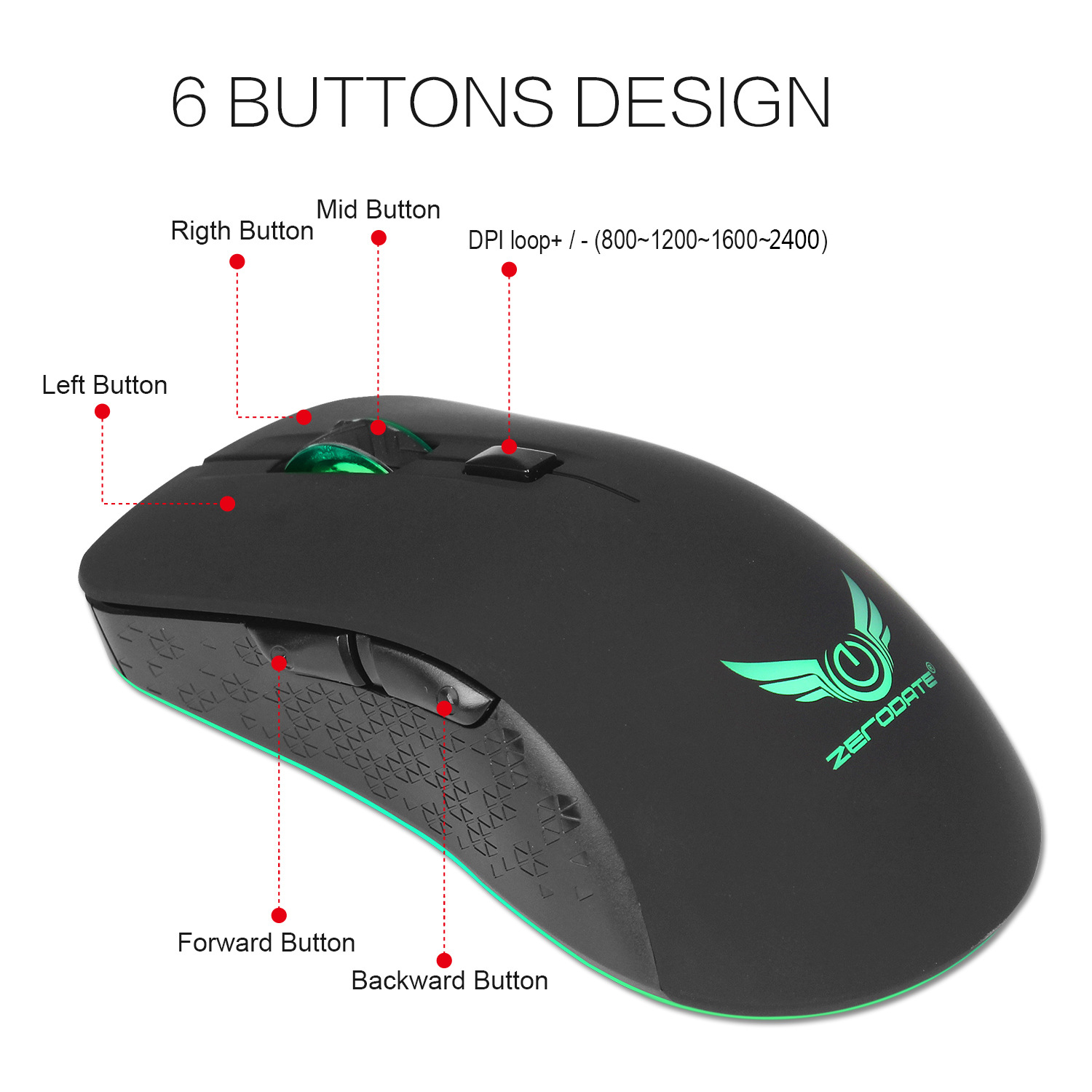 Mouse Rechargeable Cordless Mouse 2.4G 2400 DPI Gaming Mouse with light