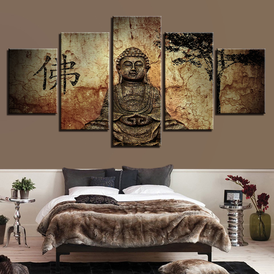 modular cheap pictures 5 panel buddha modern frames for painting wall art for living room home. Black Bedroom Furniture Sets. Home Design Ideas