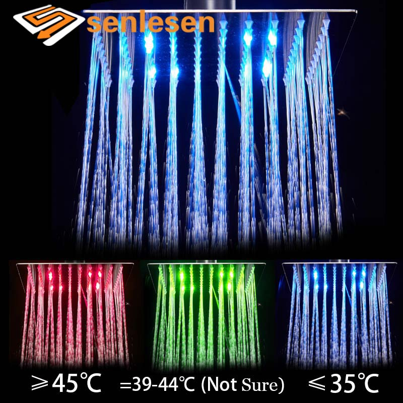 Senlesen Bath LED Shower Head Nickle Stainless Steel Wall Ceiling Mounted Bathroom Shower Faucets Para Bath Shower