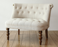 European Style Upholstered Loveseat Two Seater Sofa Living Room Furniture Modern Sofa Buttom Tufted Cushion Antique