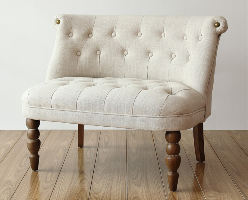 European Style Upholstered Loveseat Two Seater Sofa Living Room Furniture Modern Buttom Tufted Cushion Antique