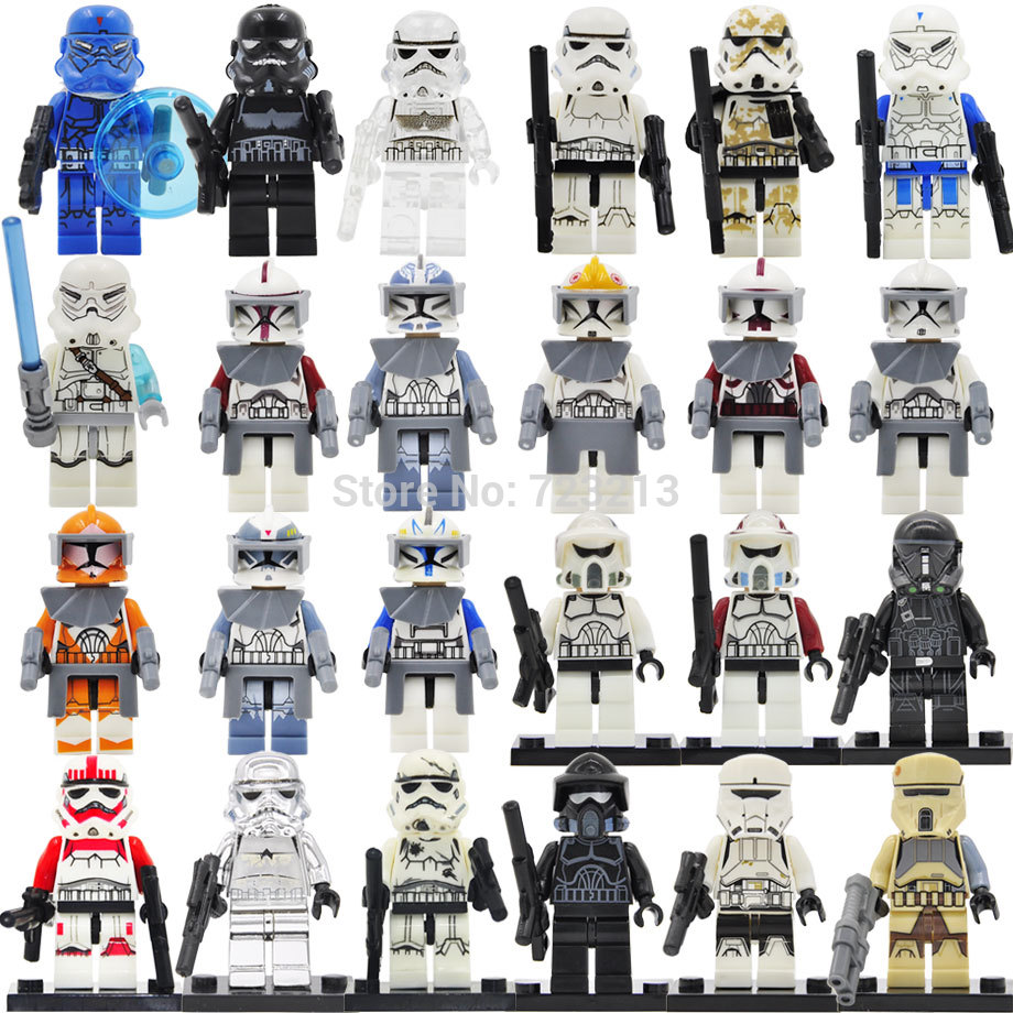 21pcs STAR WARS Troopers Clone Scout Trooper PADUV Printd lego minifigure costum