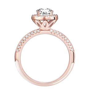 Image 4 - Newshe 2 uds anillos de boda de oro rosa para mujeres 925 Plata de Ley corte redondo AAA CZ conjunto de anillos de compromiso