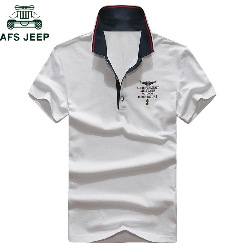 AFS JEEP Brand Embroidery   Polo   Shirt Men 2018 Summer Cotton Turn-down collar Camisa   polo   Masculina Business   polos   hombre M-3XL
