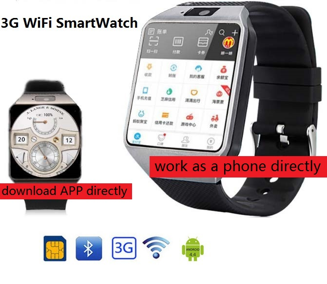 3G Wi-Fi Smart Watch 512 МБ/4 ГБ ж/Facebook/Twitter/WhatsApp Bluetooth 4,0 Smartwatch ж/камера шагомер SIM карты телефонный звонок