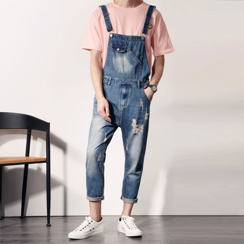 Bib Overalls For Men 2017 New Holed Ripped Denim Overalls Male Bib Jeans Washed Free Shipping denim overalls male suspenders front pockets men s ripped jeans casual hole blue bib jeans boyfriend jeans jumpsuit or04