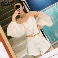 DEAT 2019 new summer fashion women clothes strapless lantern full sleeves single breasted wraps top and hot shorts set WG98200L