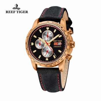 Reef Tiger/RT Sport Watch for Men Chronograph Quartz Watch With Italian Calfskin Leather And Super Luminous Watch RGA3029