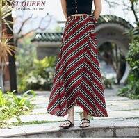 Femmes d'été longue jupe rayé élégant jupes longues pour femmes cheville longueur avant de split longue jupe taille haute NN0644 HQ