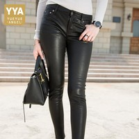 Spring Top Quality Women Skinny Pencil Pants Office Ladies Sexy Slim Fit 100% Sheepskin Real Leather Pants Streetwear Trousers