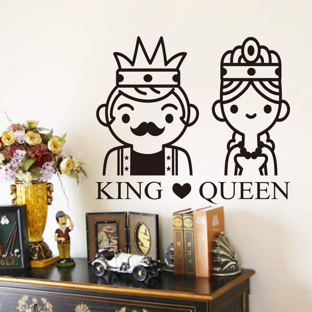 Art New Design Home Decor Colorful Vinyl King And Queen Wall Sticker Removable Cartoon Decals