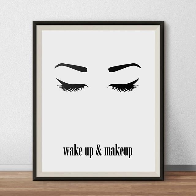 wake up and makeup wall art printable beauty poster eyes lashes