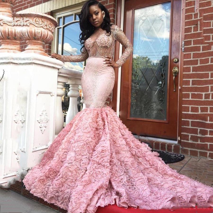 Rosa vestidos de baile sexy sirena palabra de longitud prom girl ...
