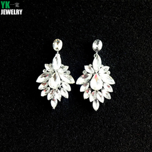 2017 Fashion Hot Sale Luxury Crystal Flower Earrings For Women Party Statement Jewelry