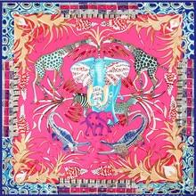 KOI LEAPING Fashion 130x130 Silk Scarf Ethnic wind elephant