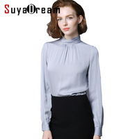 Real SILK Blouse Women Stand Collar Long Sleeve Solid Blusas Femininas Office Lady STRETCH Plus Size