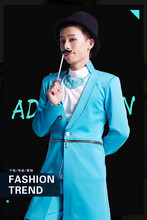 S-5XL!!!   2017  Men's clothing Dj costume vintage suit evening dress casual overcoat medium-long trench outerwear male