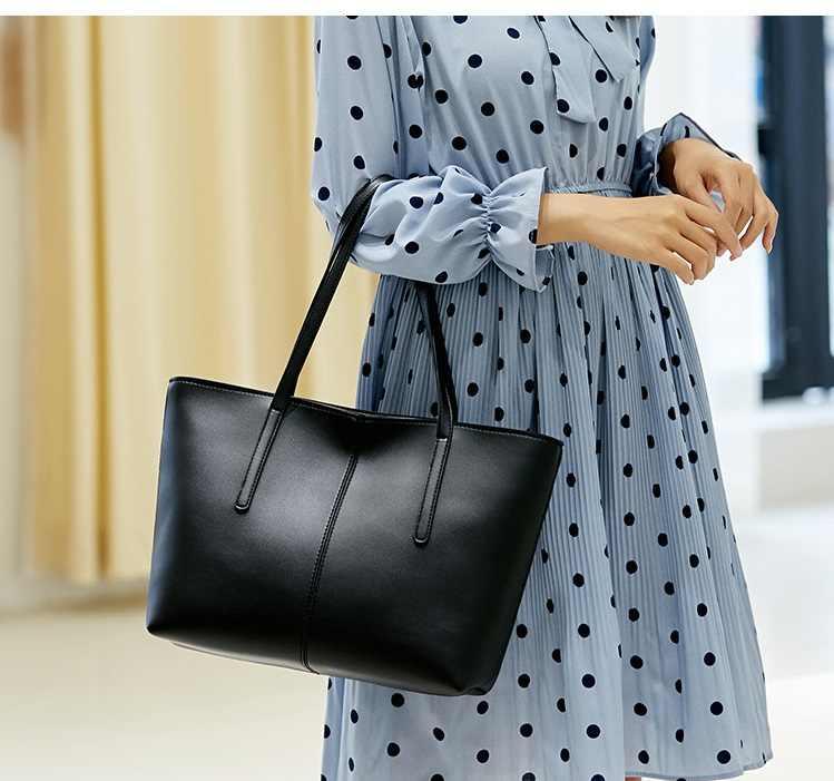 Tas Kulit Asli Desain Mewah Wanita Kasual Tote Dompet Fashion Tas Bahu Tas Wanita Besar Kapasitas Shopping Baru C826