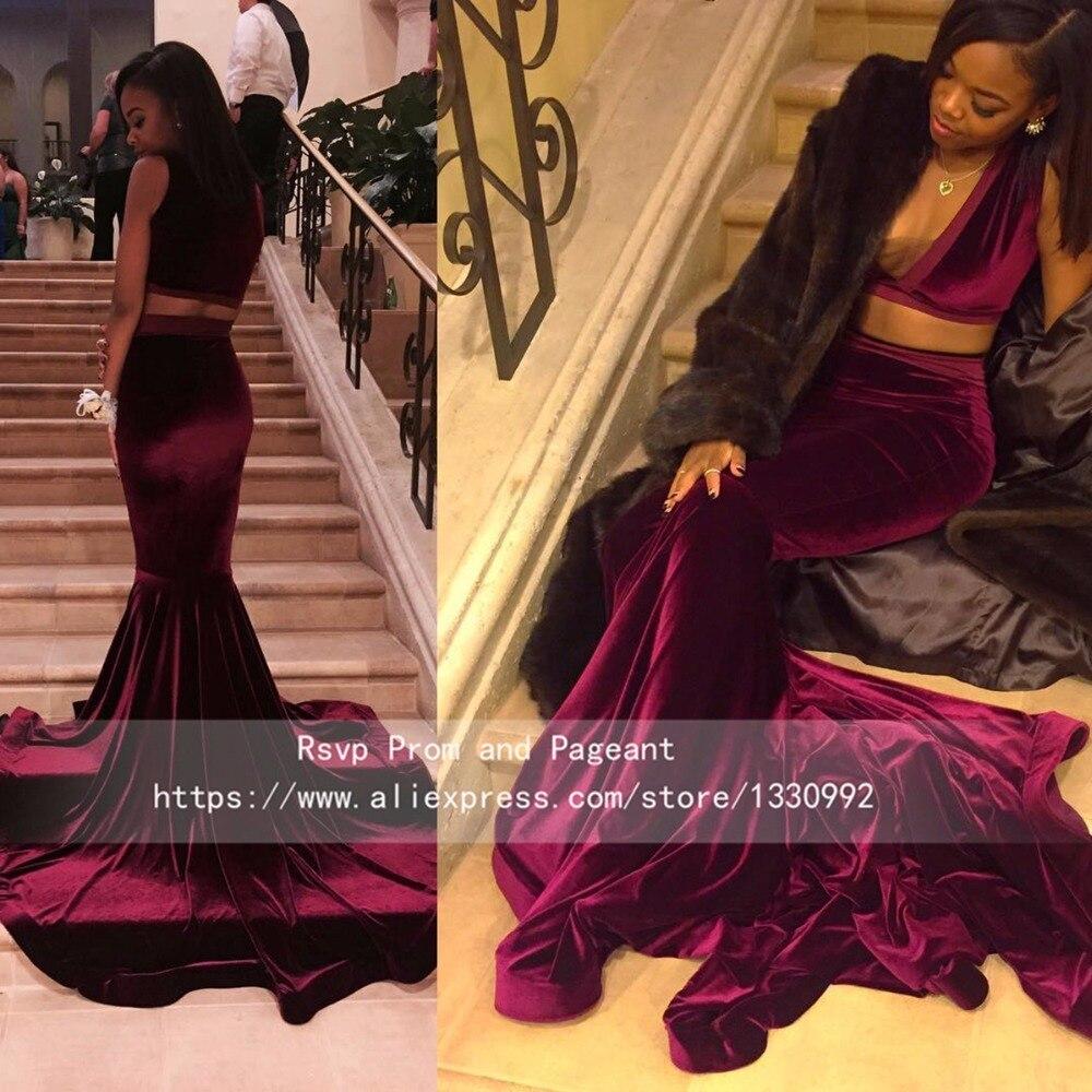 Sexy Deep V Neck Sleeveless Velvet Two Piece Burgundy Prom Dresses