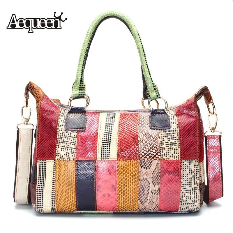 AEQUEEN Women Handbags Vintage Genuine Leather Patchwork Colorful Shoulder Bags For Women Hobo Bag Ladies Random