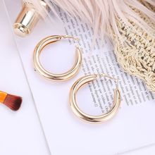 Big Gold Sliver Hoops Earrings Minimalist Thick Tube Round Circle Hoop Earrings for Women Zinc Alloy Trendy Punk Rock yeemeng 585 rose gold large hoops earrings minimalist thick tube round circle rings earrings for women copper plated trendy punk