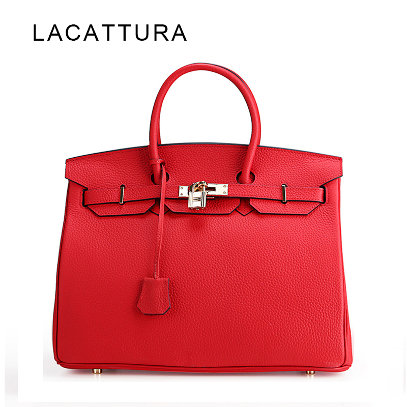 LACATTURA Classic It Bag Brand Design Women Handbags High Quality Genuine Leech Cowskin Saffiano Shoulder Bag All-match Lady Bag leech therapy